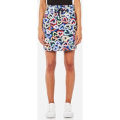 Love Moschino Women s Heart Short Skirt   Multi   IT 38 UK 6   Multi - 8056682847312