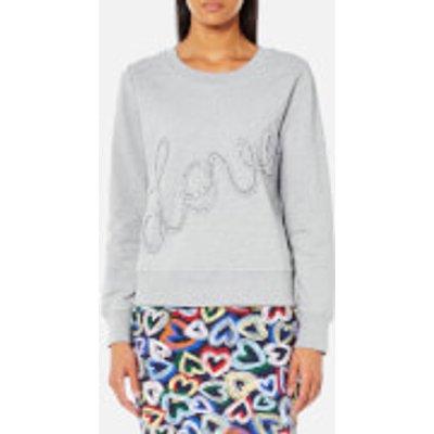 Love Moschino Women s Ruffle Love Logo Sweatshirt   Grey   IT 44 UK 12   Grey - 8056682849590