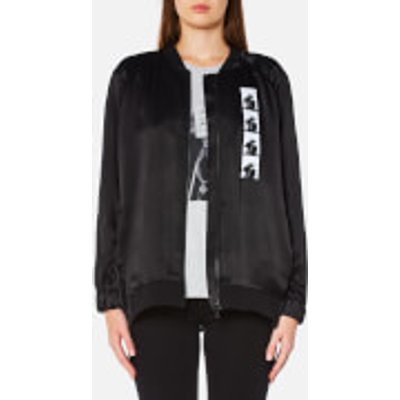 Karl Lagerfeld Women s Satin Karl Photo Bomber Jacket   Black   S   Black - 8718504567456