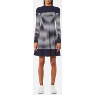 Tommy Hilfiger Women s Gaila Stripe Rib Dress   Peacoat Classic White   S   Blue - 8719255149717
