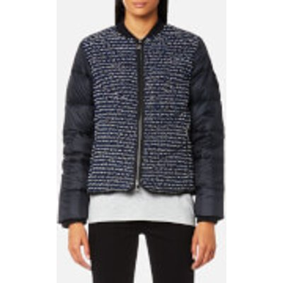 Karl Lagerfeld Women s Boucle Quilted Down Bomber Jacket   Peacoat   IT 42 UK 10   Blue - 8718504601907