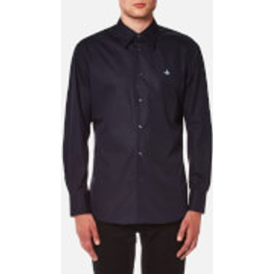 Vivienne Westwood MAN Men's Stretch Poplin Cutaway Shirt - Navy - EU 48/M - Blue