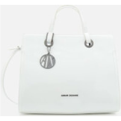 8059596140210   Armani Exchange Women s Structured Patent Tote Bag White b43a775d50