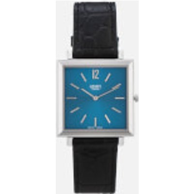 Henry London Men s Heritage Square Leather Watch   Navy - 5018479086383