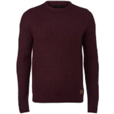 Threadbare Men's Sedley Crew Neck Jumper - Burgundy Twist - XL - Burgundy