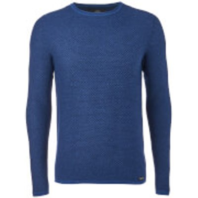 Threadbare Men's Barnes Textured Crew Neck Jumper - Rich Indigo - L - Blue