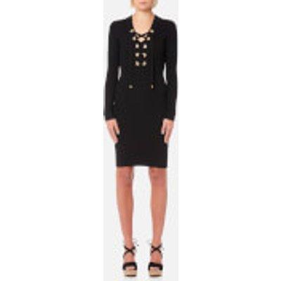 MICHAEL MICHAEL KORS Women s Lace Up Rib Dress   Black   M   Black - 191262492341