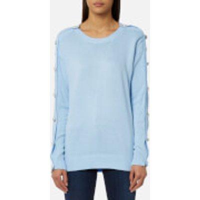 MICHAEL MICHAEL KORS Women s Gem Button Sweatshirt   Cloud   S   Blue - 191262830105