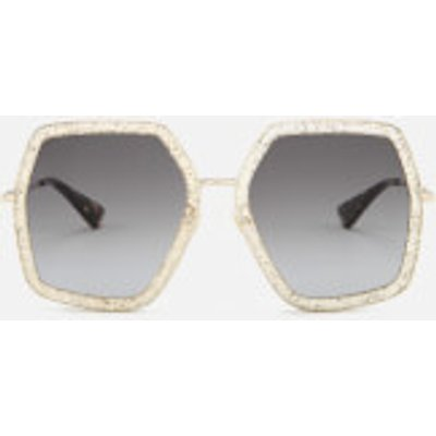Gucci Women's Metal Square Frame Sunglasses - Gold/Brown