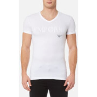 Emporio Armani Men s Stretch Cotton V Neck T Shirt   Bianco   XL   White - 8057019236861