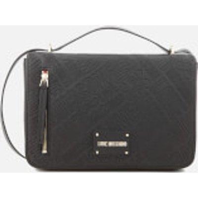 Love Moschino Women s All Over Logo Cross Body Bag   Black - 805053783719
