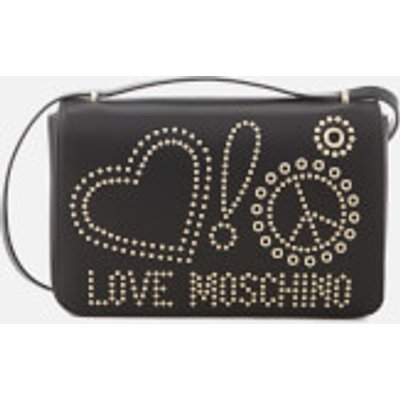 Love Moschino Women s Studded Logo Cross Body Bag   Black - 805053767219
