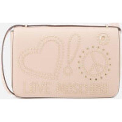 Love Moschino Women s Studded Logo Cross Body Bag   Pink - 805053784315