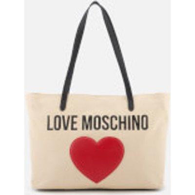 Love Moschino Women s Heart Logo Tote Bag   White - 8050537673224
