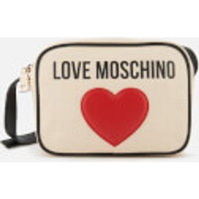 Love Moschino Women s Heart Logo Cross Body Bag   White - 8050537673248