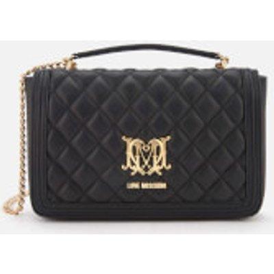 Love Moschino Women s Quilted Chain Logo Cross Body Bag   Black - 8050537684077