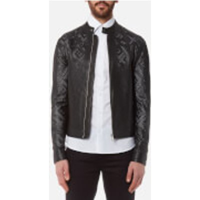 Versace Collection Men s Perforated Leather Jacket   Nero   52 XL   Black - 8052471875740