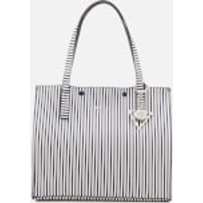 Guess Women s Kinley Carryall Tote Bag   Blue Stripe - 190231116639