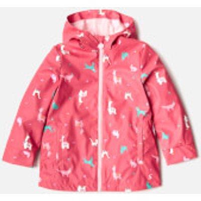 Joules Girls' Raindance Waterproof Coat - Bright Pink Festival - 6 Years - Pink