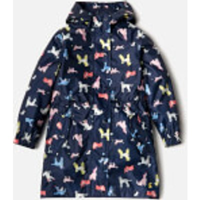 Joules Girls' Golightly Waterproof Packaway Jacket - French Navy Dotty Dogs - 9-10 Years - Navy