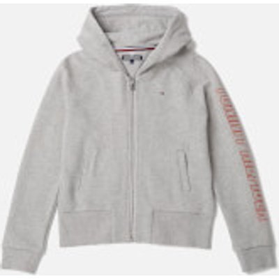 Tommy Hilfiger Girls' Ame Big Logo Hoodie - Light Grey Heather - 12 Years - Grey