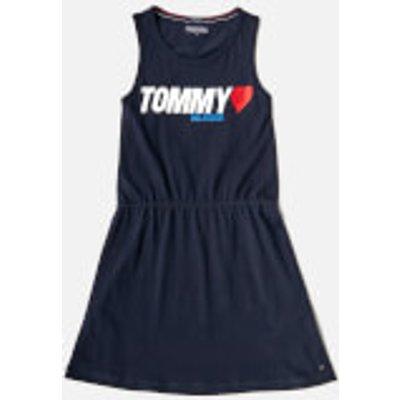Tommy Hilfiger Girls' Preppy Knit Dress - Black Iris - 16 Years - Blue