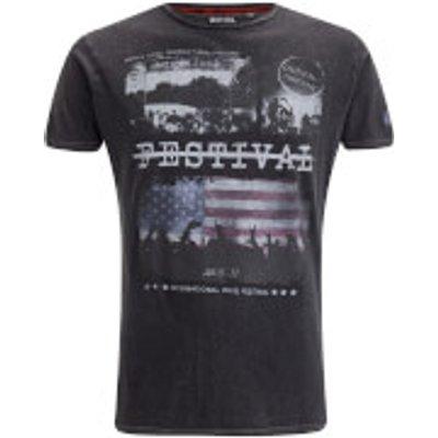 Brave Soul Men's Gig T-Shirt - Jet Black Wash - S - Black