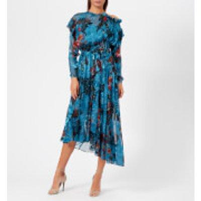 Preen By Thornton Bregazzi Women's Satin Devoré Stephanie Dress - Blue Painted Flower - S - Blue