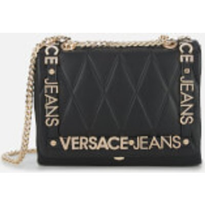 Versace Jeans Women s Quilted Logo Chain Handle Cross Body Bag   Black - 8057006658492
