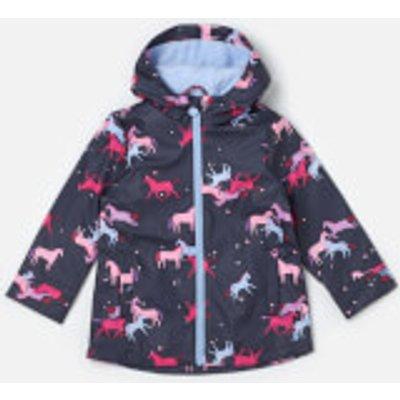 Joules Girls' Raindance Waterproof Coat - Navy Magic Unicorn - 1 Year - Blue