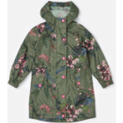 Joules Girls' Golightly Packaway Waterproof Coat - Grape Leaf Harvest Floral - 9-10 Years - Green