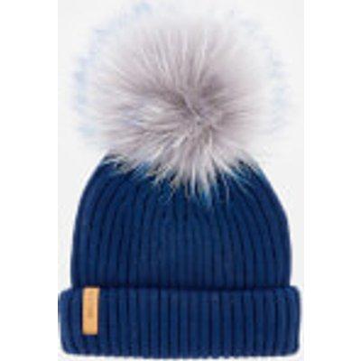 BKLYN Women's Merino Classic Pom Pom Hat - Royal Blue/Grey Blue