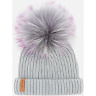 BKLYN Women's Merino Classic Pom Pom Hat - Light Grey/Purple