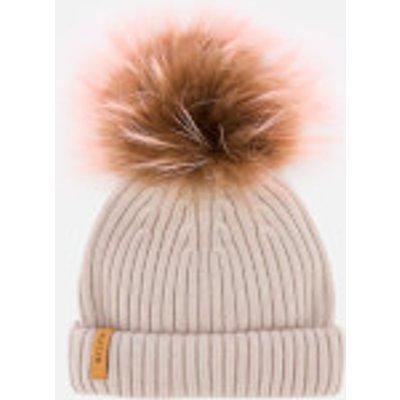 BKLYN Women's Merino Classic Pom Pom Hat - Powder/Brown And Baby Pink