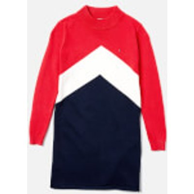 Tommy Hilfiger Girls' Chevron Block Sweater Dress - True Red/Multi - 10 Years - Red/Multi
