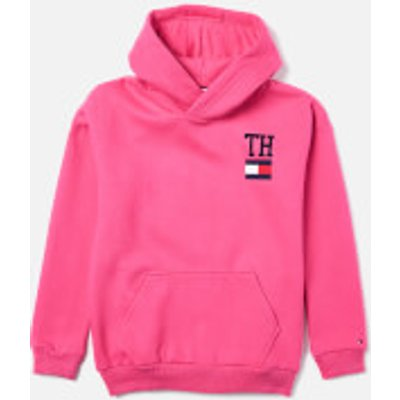 Tommy Hilfiger Girls' Collegic Stamp Hoody - Pink Flambe - 10 Years - Pink