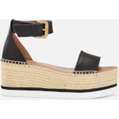 See By Chloé Women's Glyn Leather Espadrille Mid Wedge Sandals - Black - EU 40/UK 7 - Black