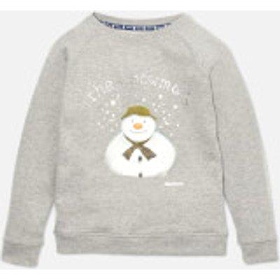 Barbour Girls' Naomi Overlayer Snowman Sweatshirt - Light Grey Marl - M (8-9 Years) - Grey