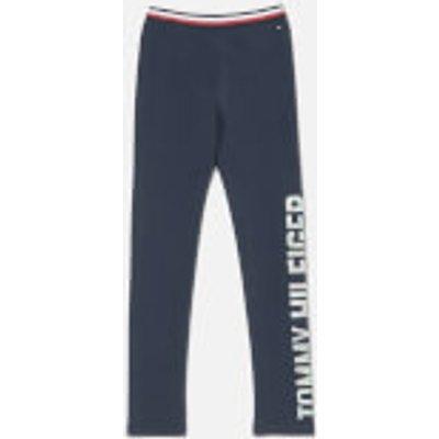 Tommy Hilfiger Girls' Essential Logo Legging - Black Iris - 14 Years - Blue