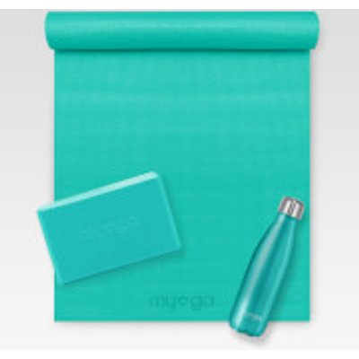 Turquoise Yoga Kit (Includes Mat, Brick and Bottle), Blue