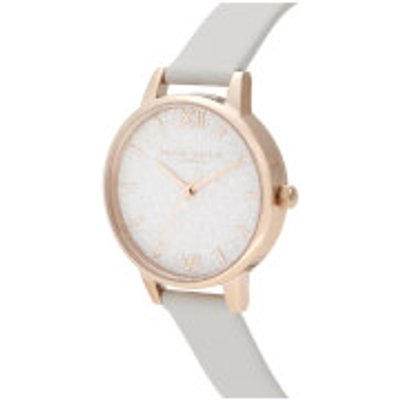 Olivia Burton Women s Glitter Dial Vegan Leather Watch   Pale Gold - 7613272366281