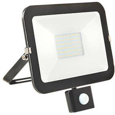 Brackenheath iSpot Outdoor LED Slim Floodlight With PIR Sensor Black 50W 4500lm (121FH)