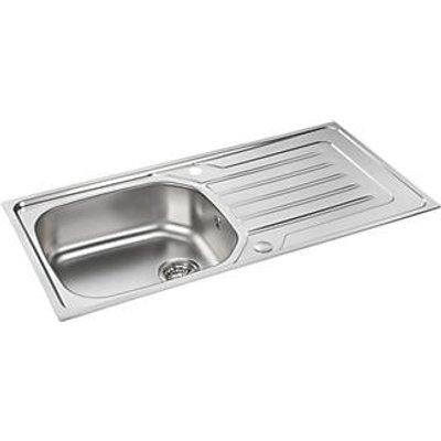 Carron Phoenix Onda Reversible Sink & Drainer Stainless Steel 1 Bowl 860 x 500mm (1430V)