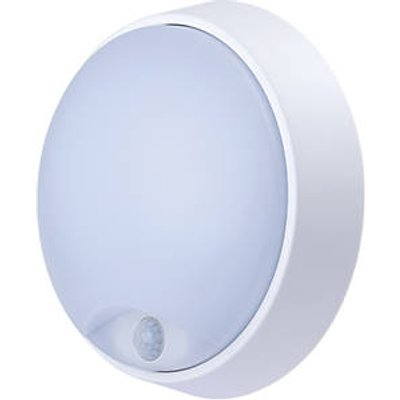 Luceco Eco Round LED Bulkhead With PIR Sensor Black / White 10W (165JK)