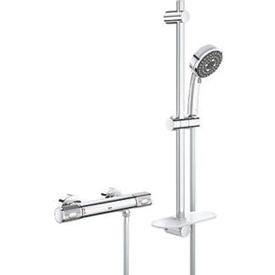 Grohe Precision Feel HP Rear-Fed Exposed Chrome Thermostatic Bar Mixer Shower (177PJ)
