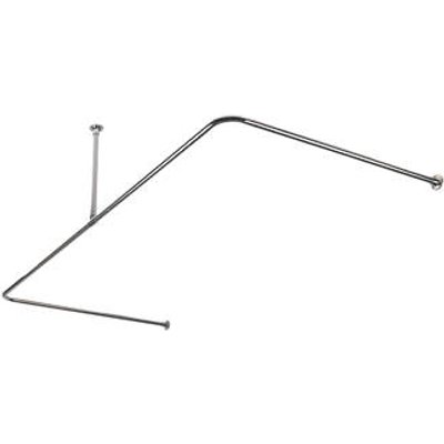 Croydex C-Shaped Shower Curtain Rail & Support Stainless Steel Chrome 2000mm (21182)