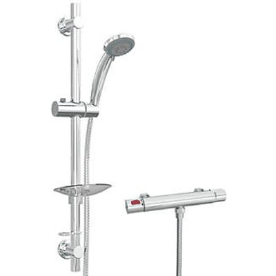 Cassellie SRV001 HP/Combi Flexible Exposed Chrome Thermostatic Bar Mixer Shower (217HR)
