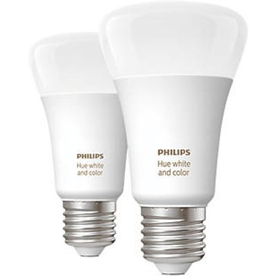 Philips Hue Ambiance Bluetooth LED A60 ES Smart Light Bulb Colour-Changing 60W 806Lm 2 Pack (230JY)