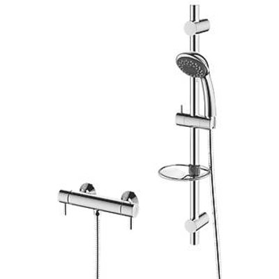 Cooke & Lewis Mala Rear-Fed Exposed Chrome Thermostatic Mixer Shower (2635T)