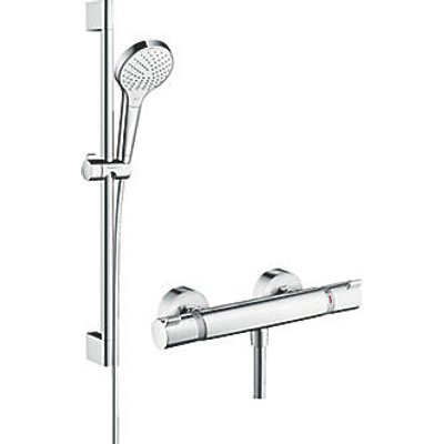 Hansgrohe Croma Select HP Rear-Fed Exposed White/Chrome Thermostatic Mixer Shower (264JX)